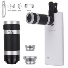 Sanheshun Quality 4in1 Fish Eye +Wide Angle Macro+ 8x Telephoto Lens Camera for Cell Phone /Tablet lens 1-east(China)