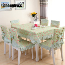 Green/Pink Pastoral Style Table Cloth Tablecloth,9pcs/set Table Cover,Table Cloth Rectangular,nappe rectangulaire tafelkleed(China)