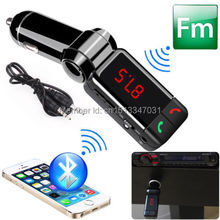 Free shipping  Wireless Bluetooth Car Kit Dual USB Charger Handsfree MP3 Player FM Transmitter