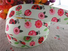 "17030260,New arrival 7/8"" (22mm) 10 yards/lot flowers ladybug printed grosgrain ribbons cartoon ribbon DIY handmade materials"