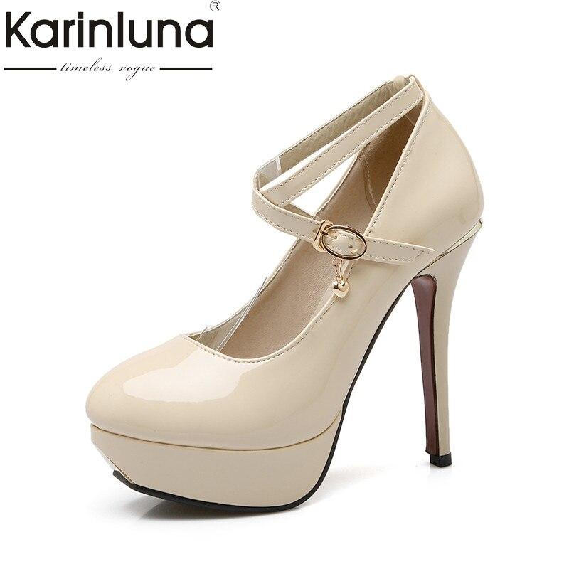 Karinluna 2018 Spring Autumn Elegant Beigh Ankle Strap Pumps Shoes Woman Platform High Heels Large Size 32-43 Wedding Women Shoe<br>