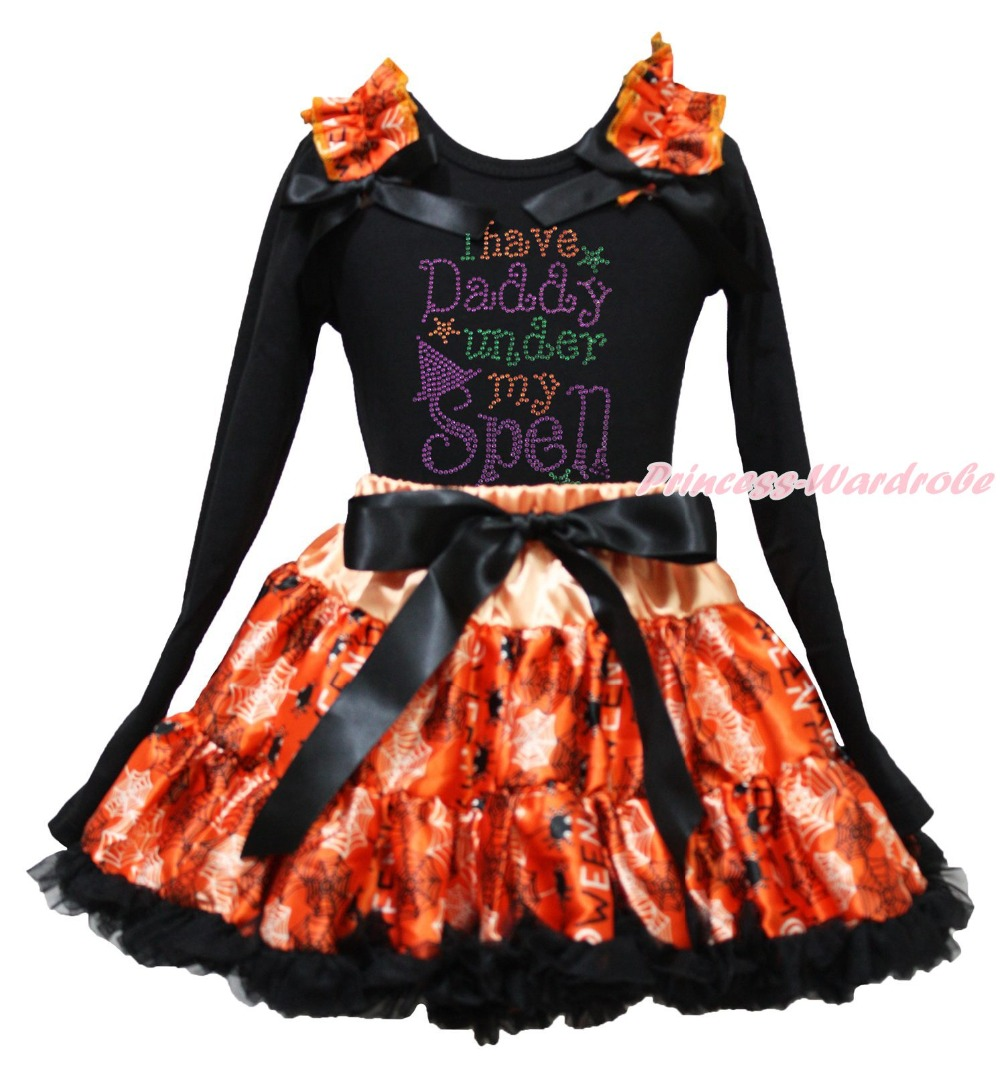 I Have Daddy Under Spell Halloween Black Top Spider Web Skirt Girl Outfit 1-8Y<br>