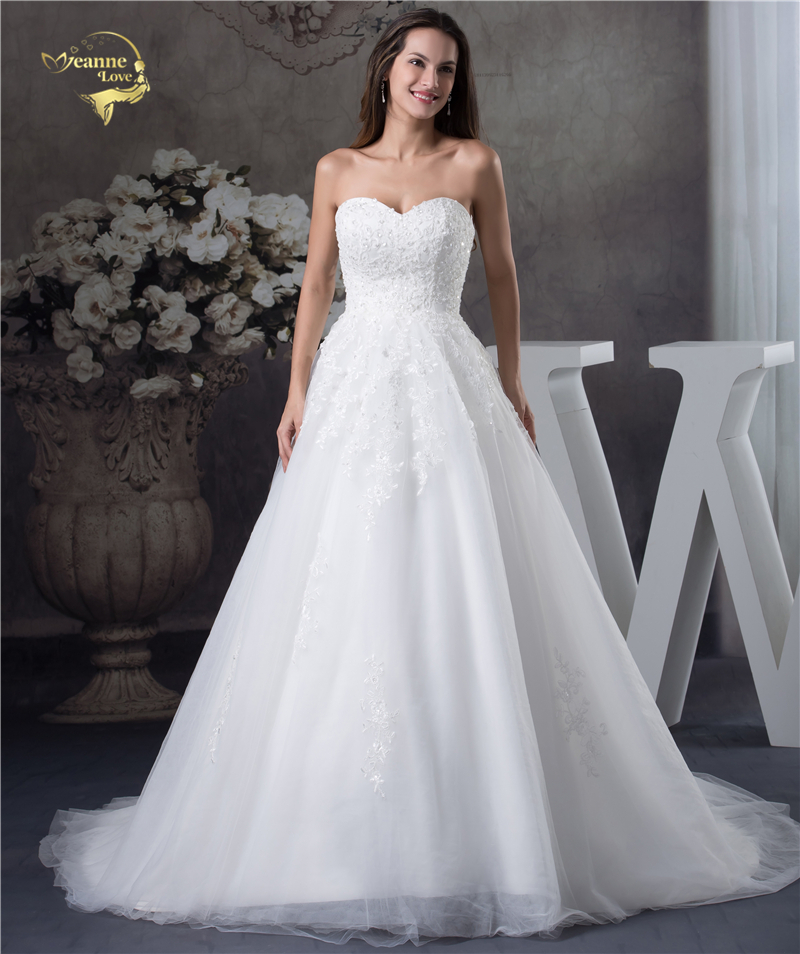 Jeanne Love Soft Tulle Sweetheart Wedding Dresses Perfect 2018 New Applique Lace Bridal Gown A Line Robe De Mariage JLOV75951 2