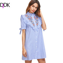 DIDK Women Summer Dress Ladies Short Sleeve Shift Dress Blue Striped Ruffle Trim Tie Sleeve Embroidered Shirt Dress