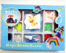 2017 New 12 Colour Magic Beads puzzle kits Water Sticky Perler Beados Pegboard Set Fuse Beads Jigsaw Puzzle(China)