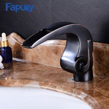 Fapully Waterfall Bathroom Faucet Oil Rubbed Bronze Small Sink Mixer Tap Vanity Brass Basin Faucet(China)