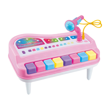 8 Candy Color Key Electronic Keyboard Piano with Mic Musical Toy for Children Gift Music Learning Boy Girl Color Random