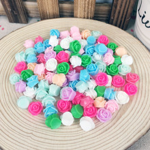 100Pieces Mix Color Flatback Flat Back Resin Flower Cabochon Kawaii DIY Resin Rose Craft Decoration Scrapbook Embellishment:10mm