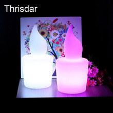 Thrisdar 16 Color Flameless Candle Night Lamp + Remote Controller 13X13X28CM Rechargeable Outdoor LED Furniture Table Bar Light