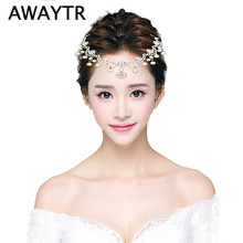 AWAYTR Wedding Hair Ornaments Pearl Hairband Headband Bridal Hair Jewelry Sweet Headwear Flower Hair Accessories