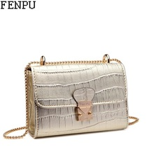 Women Clutch FENPU Brand Mini Bag Designer Ladies Bag High Quality Women Messenger Bags Chain Women Leather Bags Golden Handbags(China)