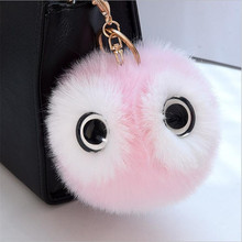 13CM Big Eyes Fluffy Rabbit Fur Ball Key Chain Cute Cartoon Panda Pompom Keychain Women Car Bag Keycover Owl Key Rings(China)