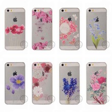 1Pc Wholeslaes Case For iPhone 5 5s Transparent Cases TPU Soft Silicon Luxury Flowers Pattern Customized Free Shipping