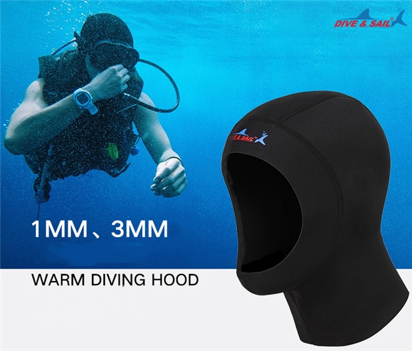 dive&sail 3mm neoprene diving cap snorkeling swimming hat hood neck cover winter swim keep warm scuba surfing face mask black010_