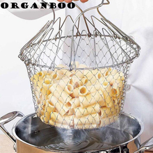 Stainless Steel Magic Mesh Basket Strainer Expandable Fry Chef Basket Kitchen Colander Net Cooking Steam Rinse Strain Basket