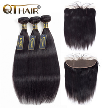 Straight Hair Bundles With Lace Frontal Brazilian Hair Weave Bundles And Closure With Baby Hair 3Bundles With Closure QT Hair(China)