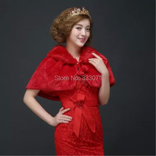 Winter faux fur wrap Poncho 2015 New Bride Shawl Prom Wedding dress Accessories Red off white Bridal Prom Cocktail Party Cape