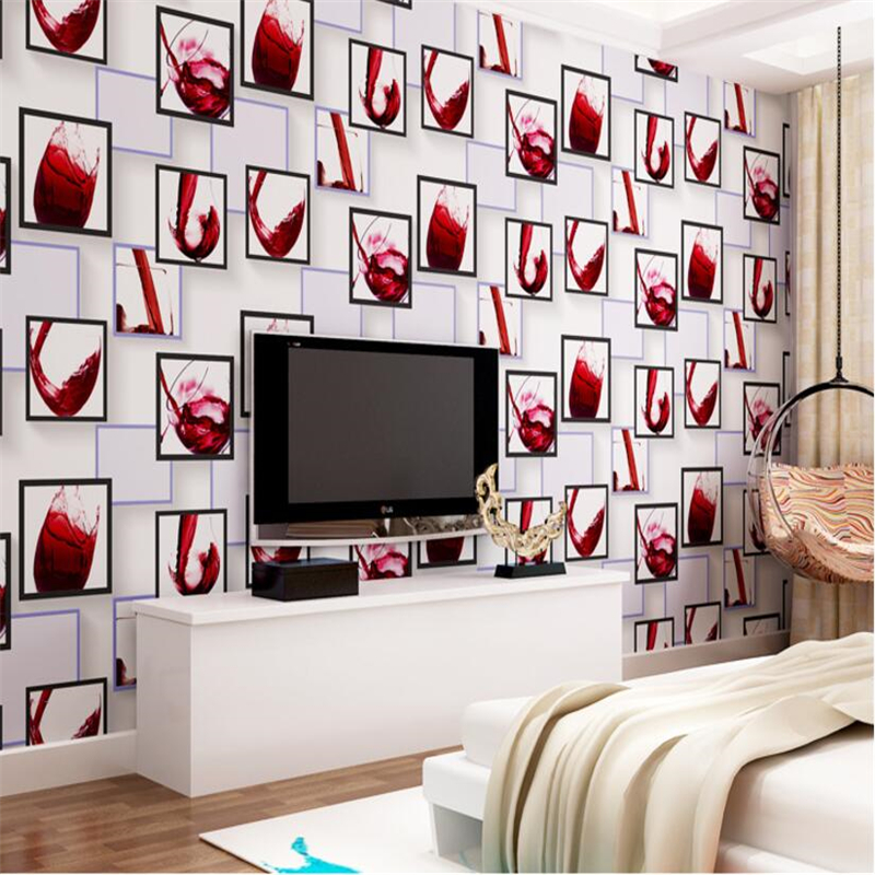 Beibehang Modern fashion bar red wine glass wallpaper restaurant room living room wallpaper red purple gray background wallpaper<br>