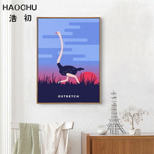 HAOCHU Modern Abstract Landscape Oil Painting Funny Galloping Ostrich Under Sunset Wall Poster Modular Picture for Home Bedroom(China)