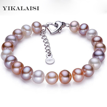 YIKALAISI 2017 100% real Natural Freshwater Pearl Bracelet for Women Bracelet With Pearl Jewelry 925 sterling silver jewelry(China)