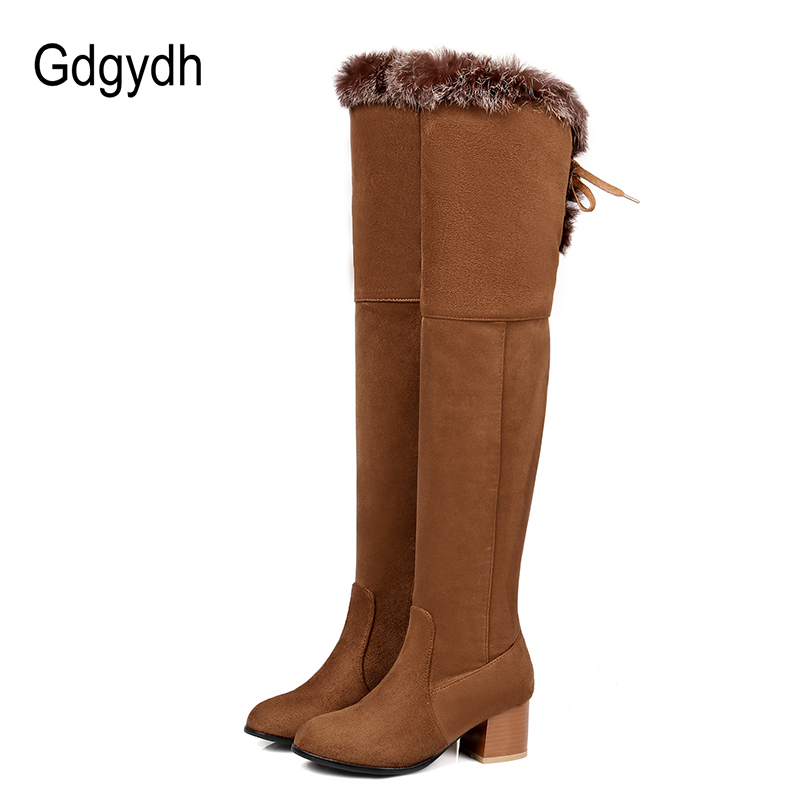 Gdgydh Real Fur Over the Knee Boots High Heels 2017 New Winter Women Snow Boots Thigh High Lacing Thick Heels Zipper Plus Size<br>