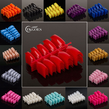 TKGOES 100pcs/lot Acrylic french false nail tips colored false nail tip nail strips decals 29different colors optional