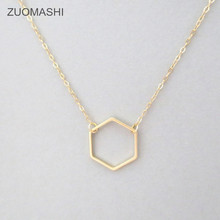 Gold Hexagon Necklace - Delicate gold necklace, Geometric Jewelry, Dainty gold necklace, Minimalist necklacec