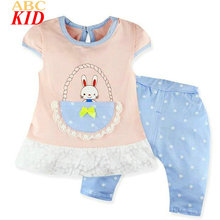 New Design Baby Girl Clothes Suits Cute Rabbit Cartoon Shirt + Pants 2 pcs Set Infants Dress Shirts Toddler Lace Tops BST008