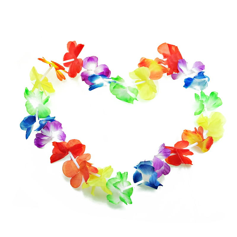 20pcs/lot Hawaiian leis Party Supplies Garland Necklace Colorful Fancy Dress Party Hawaii Beach Fun(China)