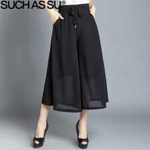 Brand New 2017 Summer Chiffon Wide Leg Pants Black Sexy Ankle-Length Trousers For Women Stretch High Waist Culottes Pants