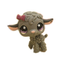 Pet shop gray lamb with a pink bow action figure girl's Collection classic animal pet toys European 2373(China)