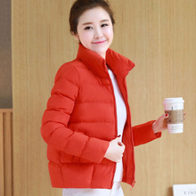 Collar Short Red Winter Parka Slim Cotton Woman Outerwear Padded Jackets Coat Casaco Feminino Quilted Jackets For Women P5C1214(China)