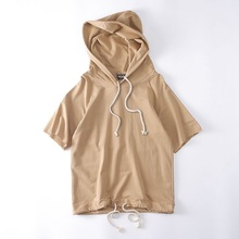 Europe United States High Street Summer Fashion Man Casual Short Sleeve Hoody Fashion Men Solid Color Pullover Hoodie