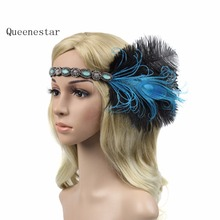 2017 Peacock Rhinestone Feather Headbands Women Vintage Costume Party Performance Hairband Horse Race Feather Hair Accessories(China)