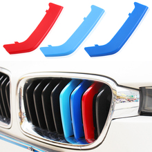 3D M car Front Grille Grills Trim Sport Strips Cover cap Stickers for 2013-2016 BMW 3 Series F30 320i 325i 328i 335i 8Grilles
