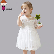 LILIGIRL Brand Summer Girl Lace Dress Child Party Birthday Get Together Clothing Child Clothing Dress 2-7Years Free Delivery(China)