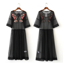 Vestidos 2017 Women Black Boho Spring Summer Floral Embroidery See through Mesh Novelty long black Dress Overall Smock Dresses