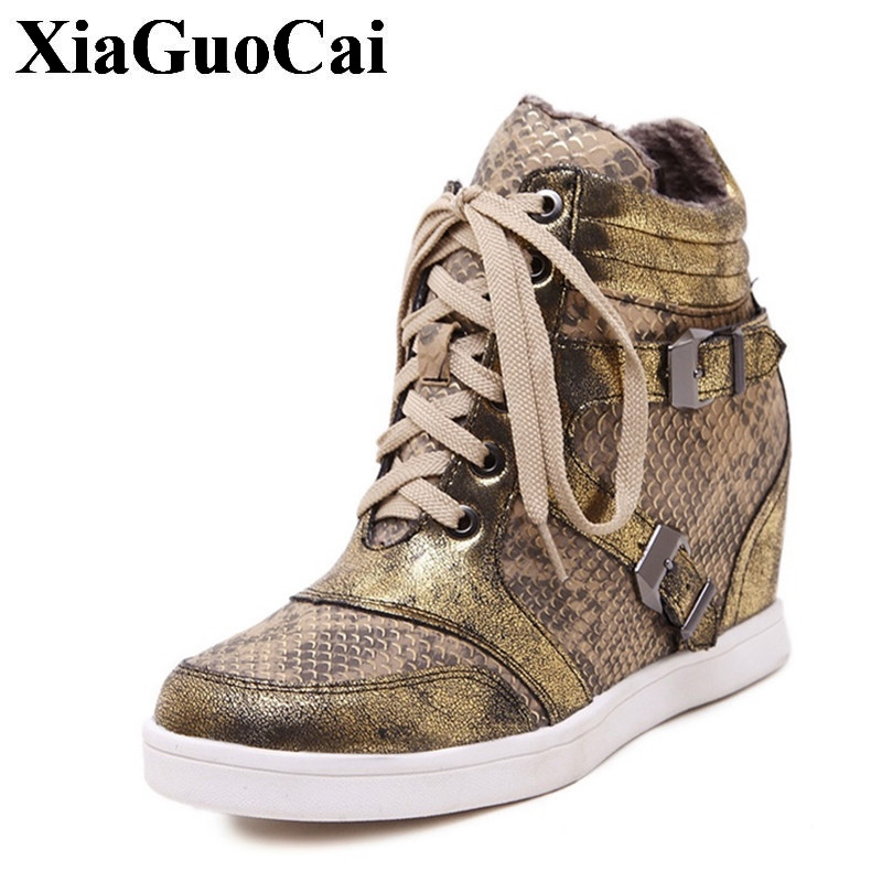 Genuine Leather Casual Shoes Women Kid Suede Fashion High-top Serpentine Height Increasing Lace-up Wedges Heel Shoes H435 35<br>