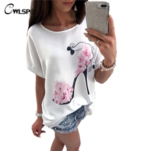 CWLSP Latest T shirt High-Heeled Shoes Print Women Fashion Summer Loose Tshirt Tops Large O Neck Top harajuku camisetas QA1810