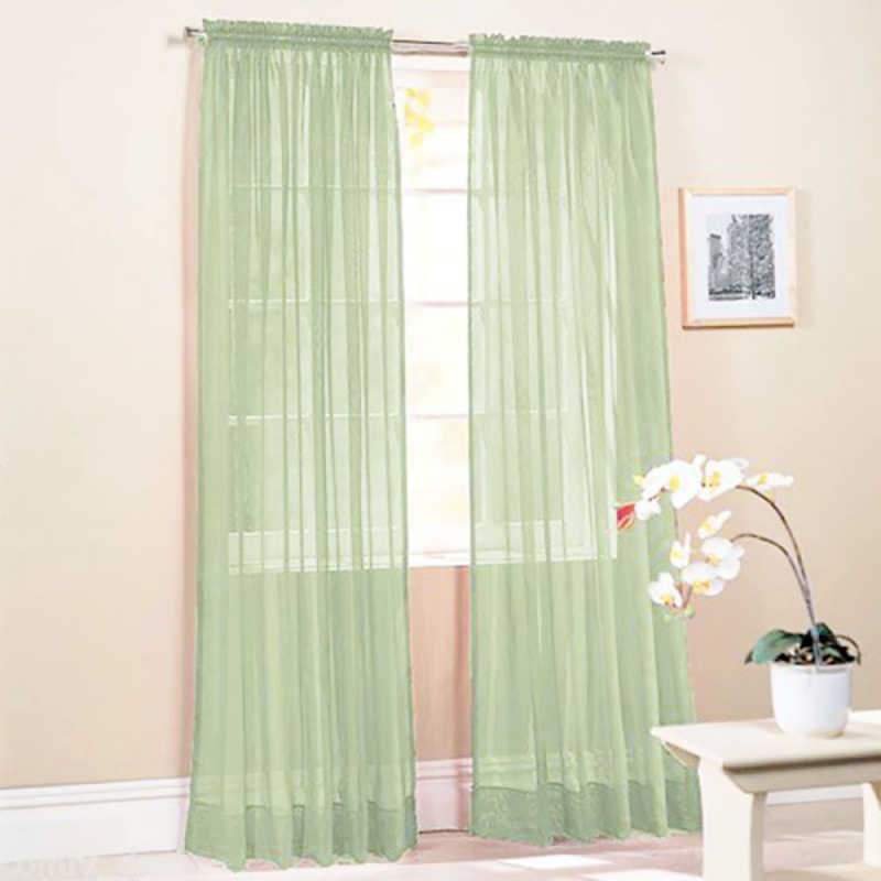 Hot New Solid Color Voile Sheer Curtain Panel Window Curtains 100*200cm Pink Yellow