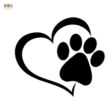 Lovely Heart Shaped Dog Cat Paw Print Car Sticker for Motorhome Camper Van Motorcycles Car Decor Waterproof Vinyl Decal(China)