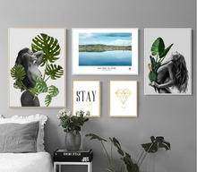 5pcs/set  Nordic Abstract Women Art Cloth Posters Home Decor Art Painting Wall Photo Living Room No Frame 385