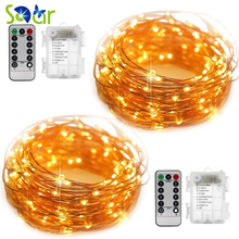 SDAR 2 Pack Fairy String Lights Battery Operated Waterproof 8 Modes 50 LED 16.4ft Remote Control for DIY Wedding Party Dinner(China)