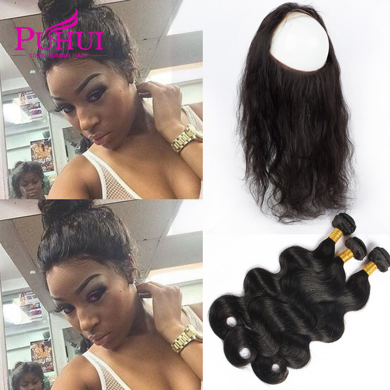 360 Lace Frontal With Bundles Body Wave Malaysian Virgin Hair With Frontal Closure Pre Plucked 360 Frontal With Bundles <br><br>Aliexpress