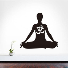 DCTOP Meditation Wall Decal Om Sticker Art Decor Bedroom Design Mural Interior Black Buddha Namaste Yoga Peace Lotus Flower