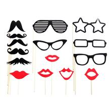 15pcs Funny Wedding Photo Props On A Stick Beard Mustache Glasses Lips Star Photo Booth Posing Props For Party Wedding Decor(China)