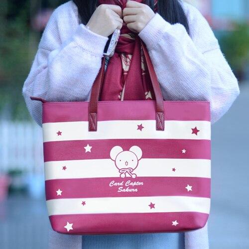 Japanese Anime Card Captor SAKURA Cartoo girl woman sweet JK uniform bag fashion Leisure large capacity schoolbag PU Handbags<br>