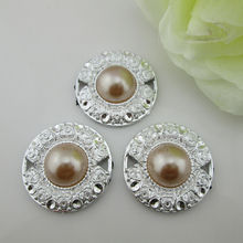 (PB102 30mm)20pcs Gorgeous Light Coffee Pearl Plastic Buckle Flower Center Button(China)
