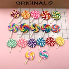 Free Shipping! New Coming Hot kawaii Miniature Clay Rainbow Lollipop, for Phone Decoration, Crafts Making, Scrapbooking DIY
