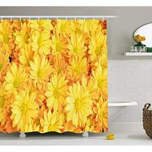 Vixm Yellow Flower Shower Curtain Lively Daisies Fresh Bouquets with Natural Seasonal Bedding Plant Petals Fabric Bath Curtains(China)